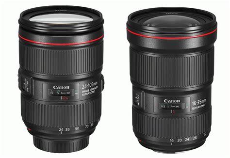 Canon EF 24-105mm f/4L IS II USM and EF 16-35mm f/2