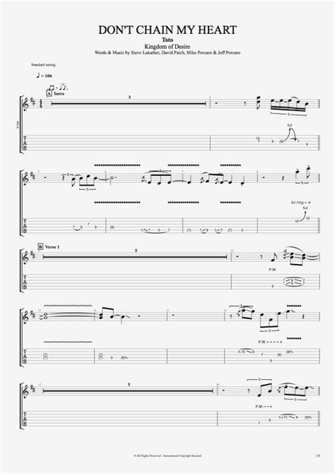 Don't Chain My Heart by Toto - Full Score Guitar Pro Tab