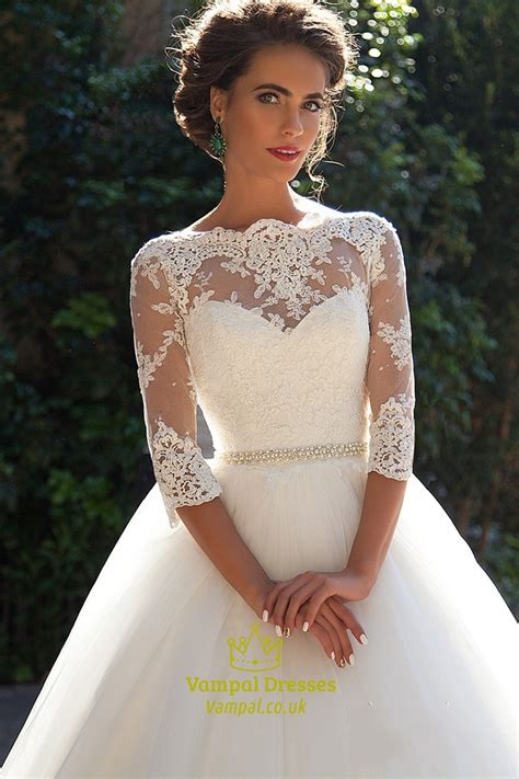 Illusion Lace Bodice 3/4 Length Sleeve Tulle Ball Gown