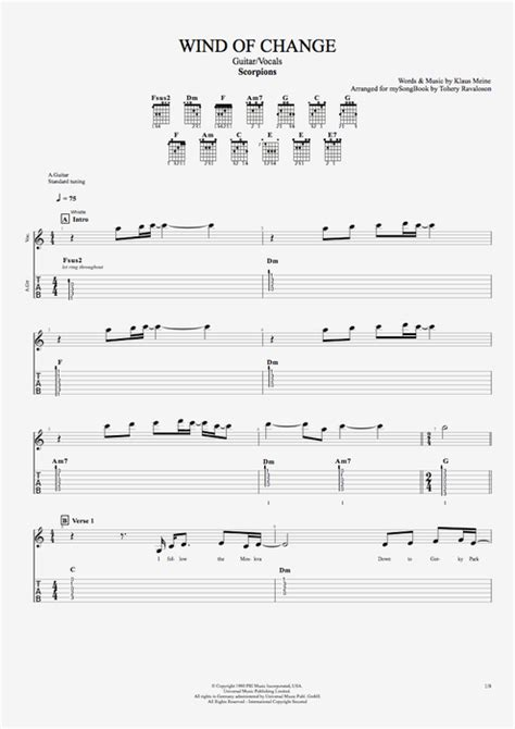 Wind of Change by Scorpions - Guitar/Vocals Guitar Pro Tab