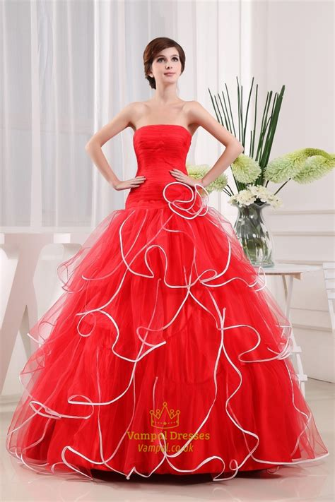 Strapless Red And White Wedding Dresses, Red Ball Gown