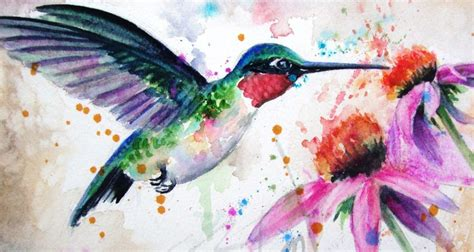 Ruby-throated Watercolor Hummingbird Original by