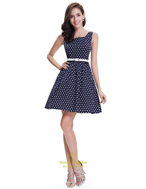 Navy Polka Dot Fit And Flare Shift Summer Dress With White