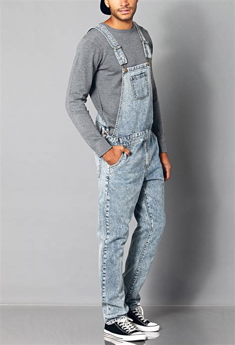 Forever 21 Classic Denim Overalls in Denim Washed (Blue