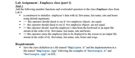 Solved: Lab Assignment - Employee Class (part 1): (In C++