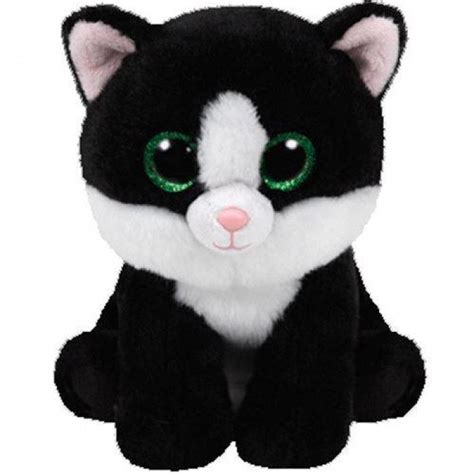 TY Beanie Babies Ava Black and White Cat Soft Toy with