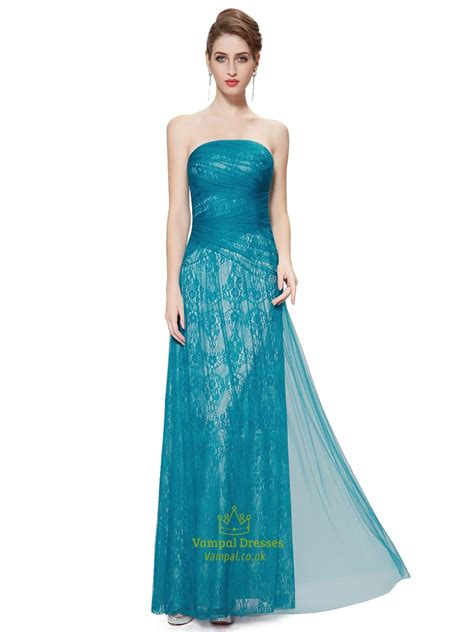 Teal Strapless Lace Sheath Floor Length Prom Dress With